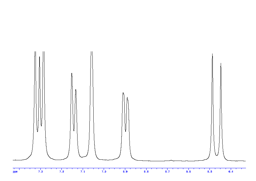 1D 1H 74 Spectrum For Trans 3 Hydroxycinnamic Acid