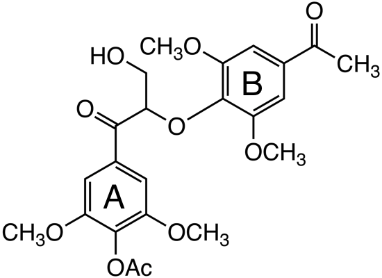 1-(4-acetoxy-3,5-dimethoxyphenyl)-2-(4-acetyl-2,6-dimethoxy phenoxy)-3-hydroxypropan-1-one image
