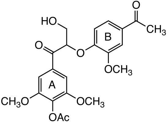 1-(4-acetoxy-3,5-dimethoxyphenyl)-2-(4-acetoxy-2-methoxyphenoxy)-3-hydroxypropan-1-one image